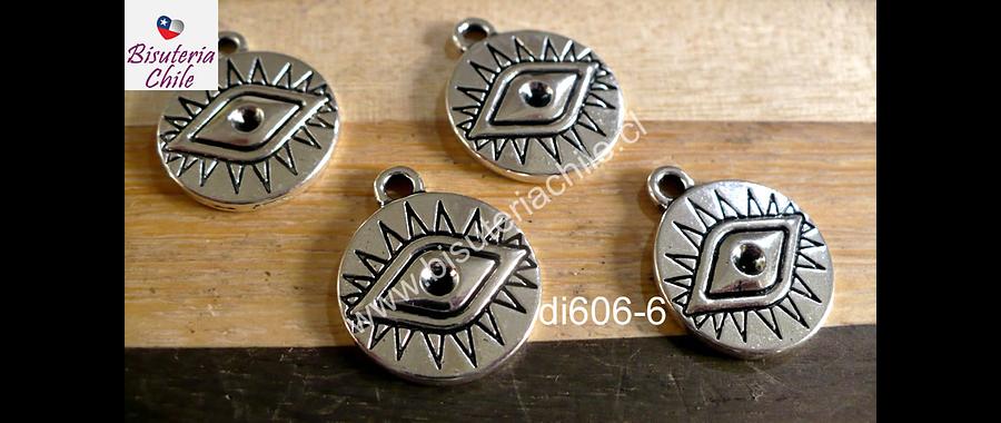 Dije plateado con ojo de orus, 16 mm de diámetro, set de 4 unidades