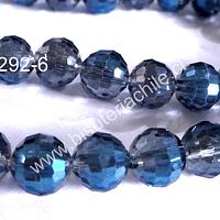 Cristal 10 mm primera calidad, color azul, tira de 20 unidades