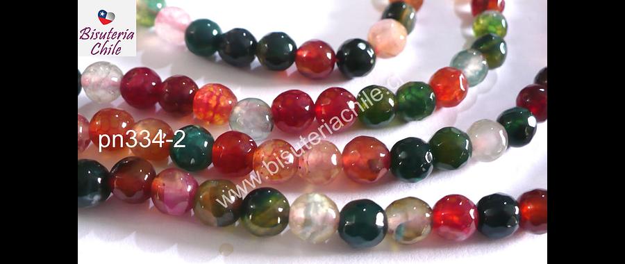Agata de 6 mm en tonos rojos, verdes y naranjos, tira de 62 piedras aprox