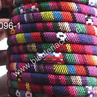 Cordón estilo étnico, en colores rojos, amarillos y morados, 7 mm de ancho, tira de 1 metro