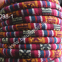 Cordón estilo étnico, en colores verde, naranjo, amarillo, burdeo 7 mm de ancho, tira de 1 metro