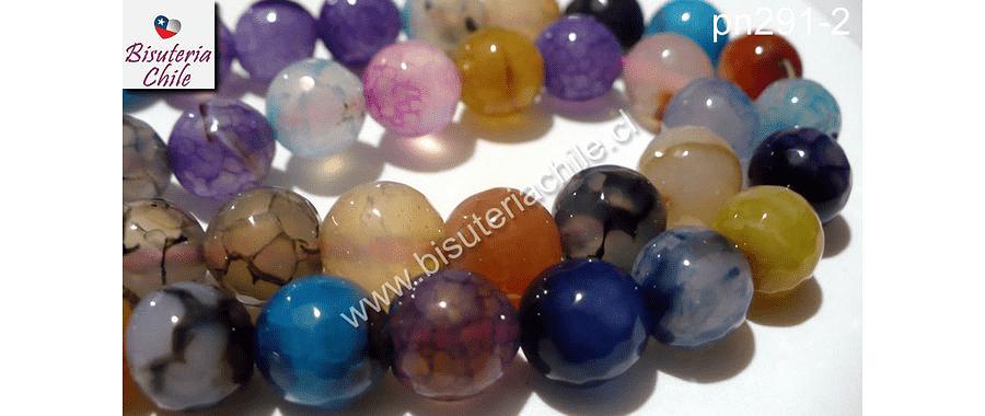 Piedra Agata de 14 mm en tonos celestes, lilas, naranjos, tira de 13 piedras aprox.