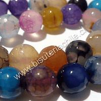 Agatas, Piedra Agata de 14 mm en tonos celestes, lilas, naranjos, tira de 13 piedras aprox.