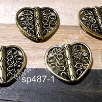 Separador dorado en forma de corazón, 16 x 17 mm, set de 6 unidades