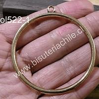 Colgante dorado, tipo gran argolla, 52 mm de diámetro, por unidad
