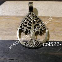 Colgante dorado con árbol de la vida, 34 mm de largo (incluye colgante) x 21 mm de ancho, por unidad