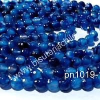 Agata 6 mm, en tonos azules , tira de 62 piedras aprox.