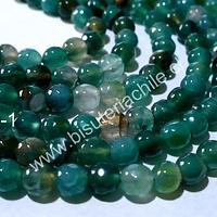 Agata 6 mm, en tonalidades verdes, tira de 62 piedras aprox.