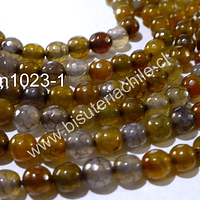 Agata 6 mm, en tonalidades ocres, tira de 62 piedras aprox.