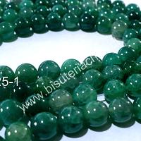 Agata lisa 8 mm, en tonos verde, tira de 48 unidades