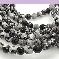 Agatas, Agata facetada en tonos negros, grises y blancos de 8 mm, tira de 46 piedras apróx
