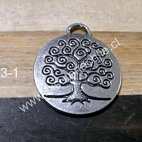 Colgante plateado con árbol de la vida, 28 mm de diámetro, por unidad