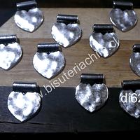 Dije plateado en forma de corazón, 11 x 15 mm, set de 14 unidades