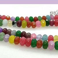 Agata, agatas multicolor RONDELL , de 6 mm, tira de 87 piedras aprox.