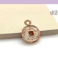 Dije baño de cobre, en forma de moneda china, 14 mm, 1 mm de grosor, por unidad
