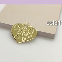 Colgante corazón baño de oro, 20 x 19 mm, 1 mm, de grosor, set de 6 unidades (por mayor)