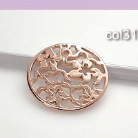 Colgante baño de cobre con diseño de flores, 28 mm, 1 mm de grosor, por unidad