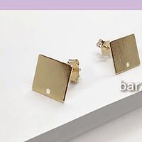 Base de aro baño de oro, 10 x 10 mm, por par