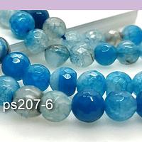 Agatas, Agata facetada en tonos celestes y azules de 8 mm, tira de 46 piedras apróx