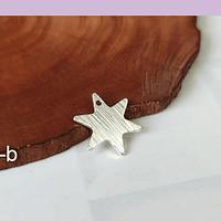Dije baño de plata en forma de estrella, 15 mm de diámetro, set de 12 unidades (por mayor)