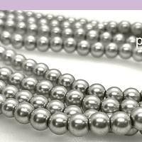 perla de vidrio gris imitación perla 6 mm, tira de 145 perlas aprox.