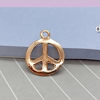 Colgante baño de cobre, amor y paz, 15 mm, por unidad