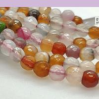 agatas, Agata en tonos multicolor, en 6 mm, tira de 65 piedras aprox