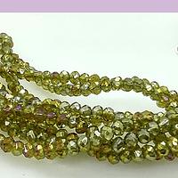 Cristal facetado verde y amarillo tornasol de 3 x 3  mm, tira de148 cristales