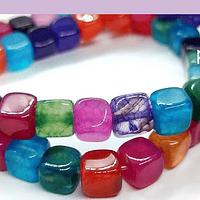 Agata multicolor cuadrada, de 7 x 7 mm, tira de 24 piedras.
