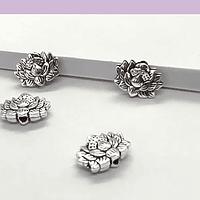 Separador en forma de flor de loto, 12 x 9 mm, agujero de 1 mm, set de 4 unidades