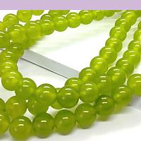 Jade calcedonia color verde claro de 6 mm, tira de 63 piedras aprox.