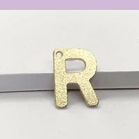 Letra R baño de oro, 15 x 10 mm, por unidad