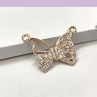 Dije doble conexión mariposa baño de cobre, 24 x 18 mm, por unidad