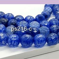 Agatas, Agata facetada en color azul de 8 mm, tira de 46 piedras apróx