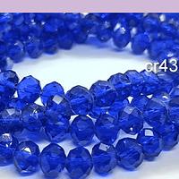 Cristal facetado de 8 mm, en color azul, tira de 70 cristales aprox.