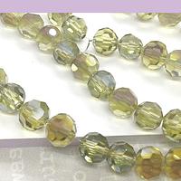 Cristal facetado redondo amarillo claro tornasol 8mm, con brillos lilas, tira de 40 cristales aprox