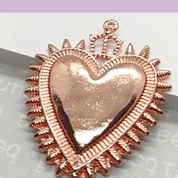 Colgante corazón detente, baño de cobre, 45 x 34 mm, por unidad