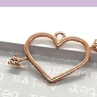 Colgante corazón baño de oro, es de 43 x 24 mm, por unidad