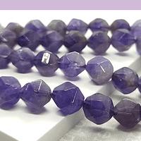 Piedra  amatista corte hexagonal, 10 mm, tira de 17 unidades