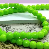 Perla de vidrio verde limón de 6 mm, tira de 72 perlas aprox