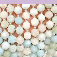 Morganita 8 mm, polígono facetado, set de 15 piedras