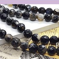 Agatas, Agata en tonos negro y acfé, en 6 mm, tira de 60 piedras aprox