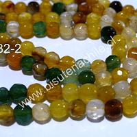 Agata en tonos amarillos, verdes y cafés, 4 mm, tira de 90 piedras aprox.