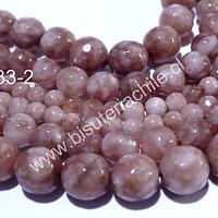 Peach Moonstone facetada, 4 mm, tira de 95 piedras aprox