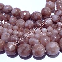 Peach Moonstone facetada, 6 mm, tira de 60 piedras aprox