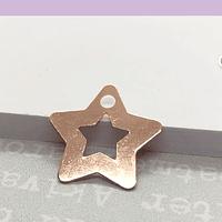Dije estrella baño de cobre, 17 mm, por unidad