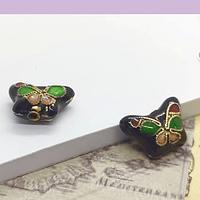 Perla española en forma de mariposa negra, 15 x 10 mm, por par