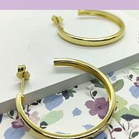 Argolla aro baño de oro, 30 x 2,5 mm, por par