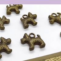 Dije envejecido en forma de perro, 14 x 11 mm, set de 7 unidades