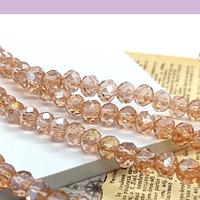 Cristal facetado en color rosado con brillos dorados tornasol de 6 mm, tira de 94 cristales aprox